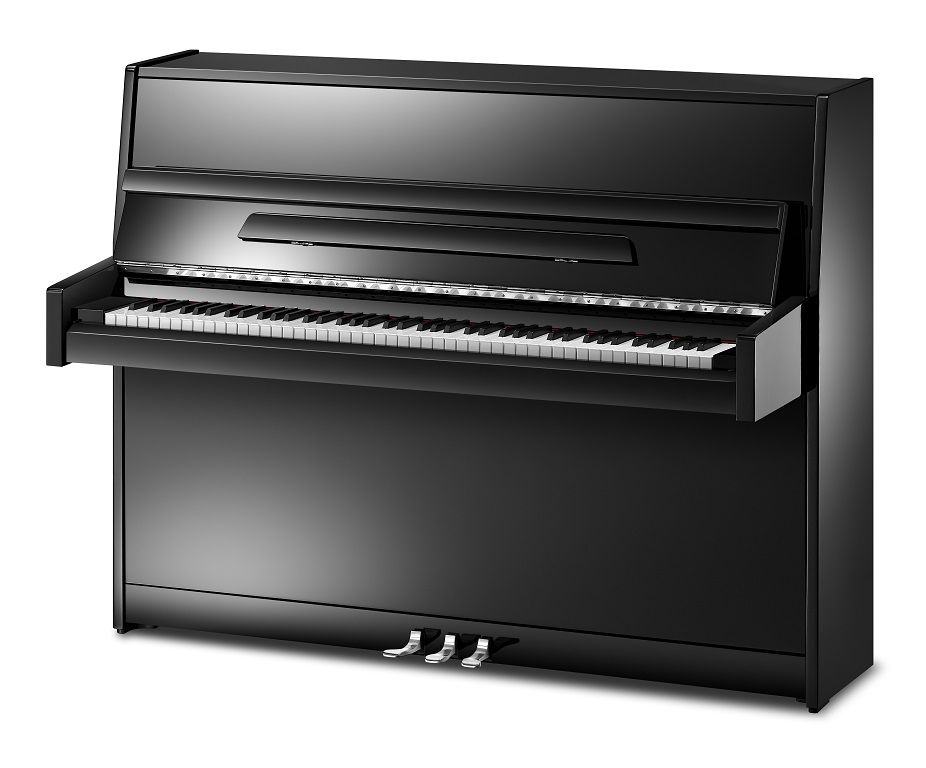 Ritmuller 112cm modern upright piano black polished new